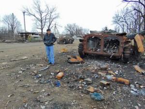 Разрушения в Дебальцево – городе на востоке Украины, пострадавшем в военных действиях