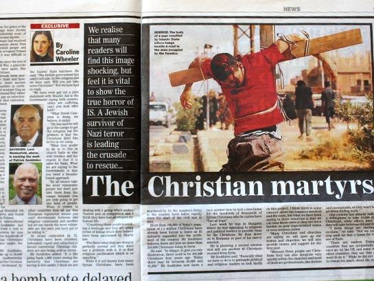 Статья британской газеты «Sunday Express» рассказывает об ужасных страданиях христиан