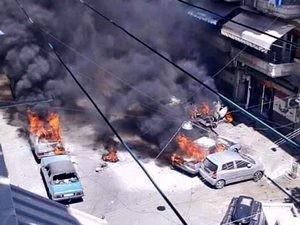orașul Aleppo, atac cu rachete și mortiere asupra zonei locuite de creștini; fotografiat cu telefonul mobil