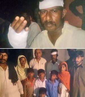 Фото. Вверху: Джура Масих. Внизу: Джура Масих со своей женой, восемь его детей и справа от него Халид Шахзад.